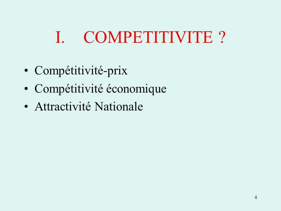 4 I.COMPETITIVITE Compétitivité-prix Compétitivité économique Attractivité Nationale