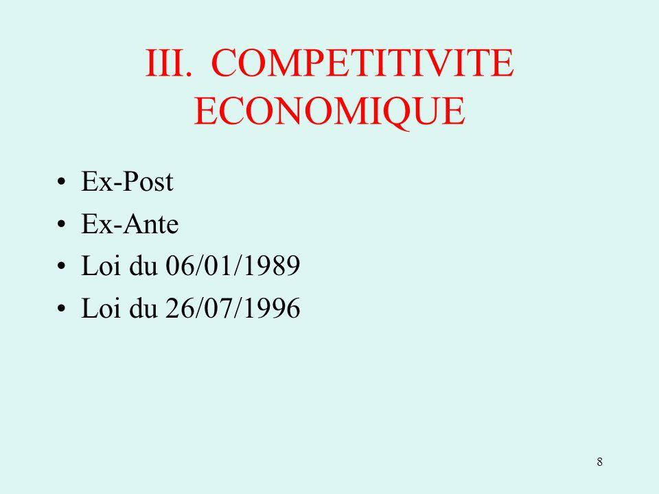 8 III.COMPETITIVITE ECONOMIQUE Ex-Post Ex-Ante Loi du 06/01/1989 Loi du 26/07/1996