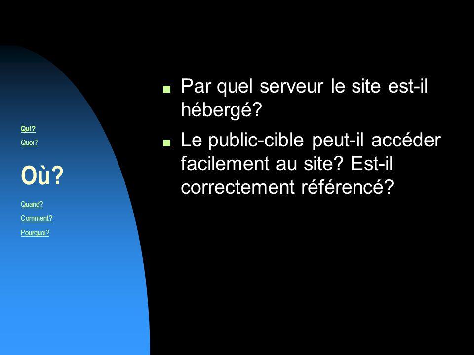 n Par quel serveur le site est-il hébergé. n Le public-cible peut-il accéder facilement au site.