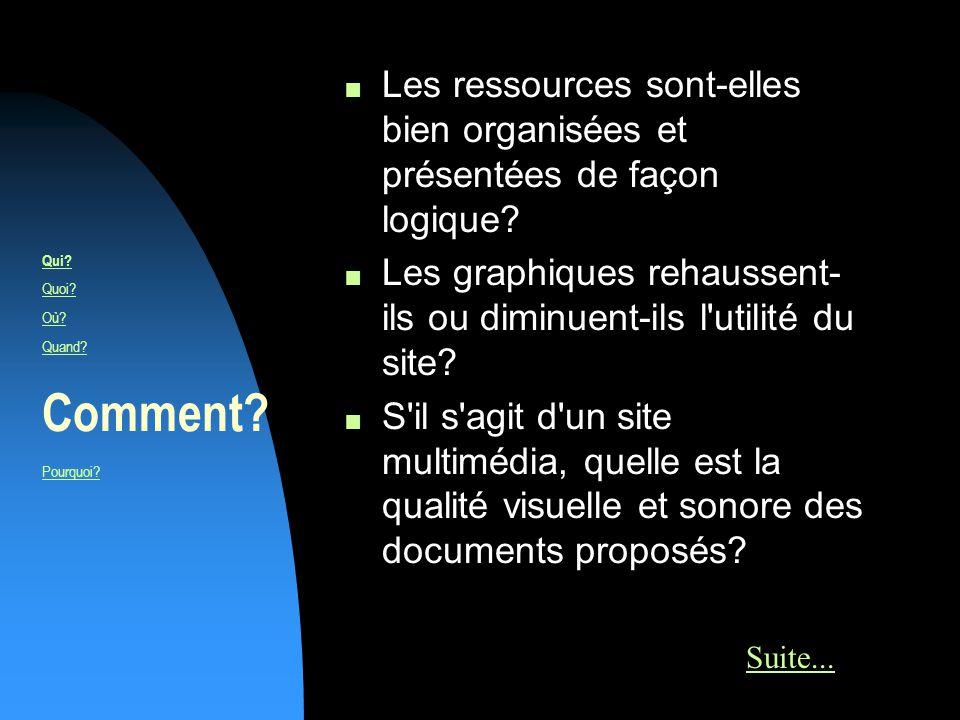 n Les ressources sont-elles bien organisées et présentées de façon logique.