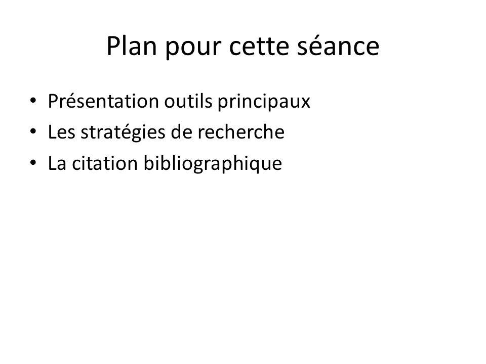 Plan pour cette séance Présentation outils principaux Les stratégies de recherche La citation bibliographique