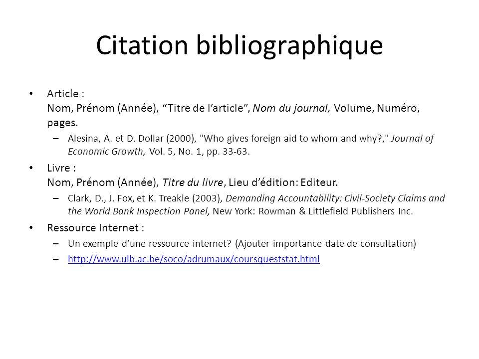 Citation bibliographique Article : Nom, Prénom (Année), Titre de larticle, Nom du journal, Volume, Numéro, pages.