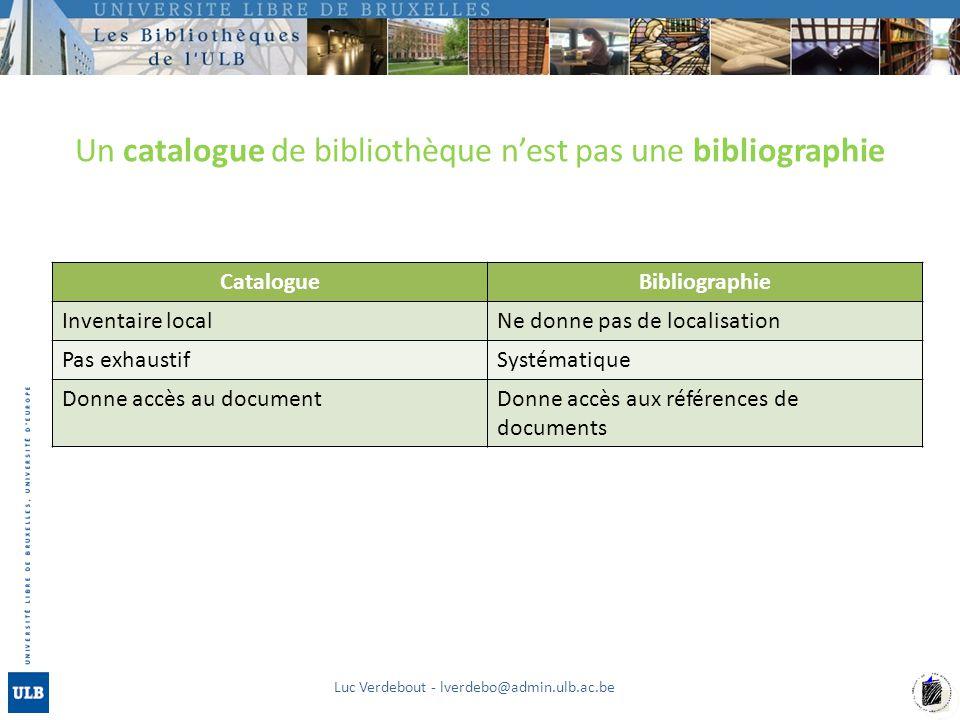Un catalogue de bibliothèque nest pas une bibliographie Luc Verdebout - lverdebo@admin.ulb.ac.be CatalogueBibliographie Inventaire localNe donne pas d