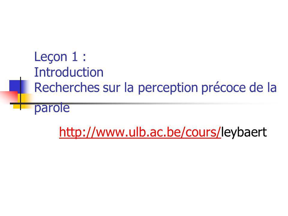 Leçon 1 : Introduction Recherches sur la perception précoce de la parole http://www.ulb.ac.be/cours/http://www.ulb.ac.be/cours/leybaert