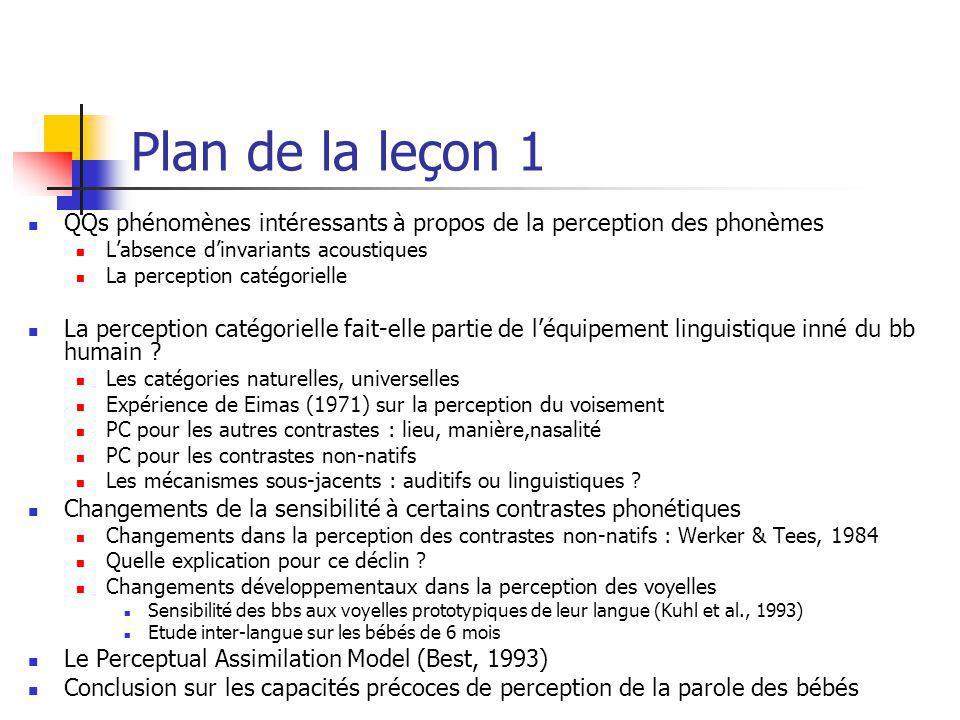 Plan de la leçon 1 QQs phénomènes intéressants à propos de la perception des phonèmes Labsence dinvariants acoustiques La perception catégorielle La p