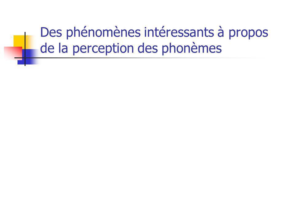 Des phénomènes intéressants à propos de la perception des phonèmes