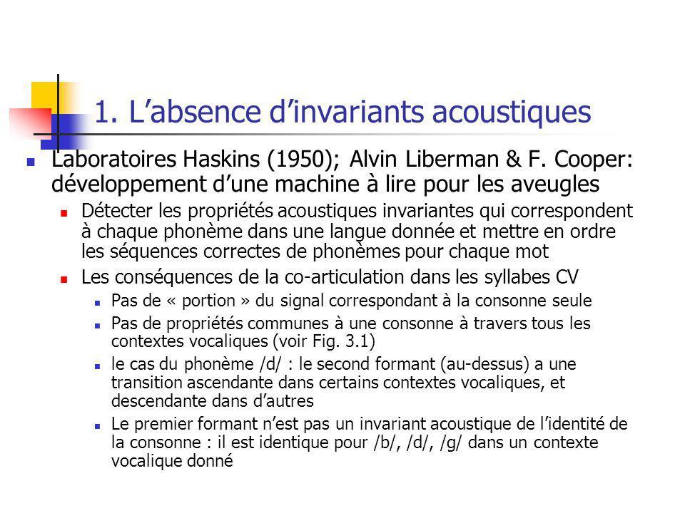 1. Labsence dinvariants acoustiques Laboratoires Haskins (1950); Alvin Liberman & F. Cooper: développement dune machine à lire pour les aveugles Détec