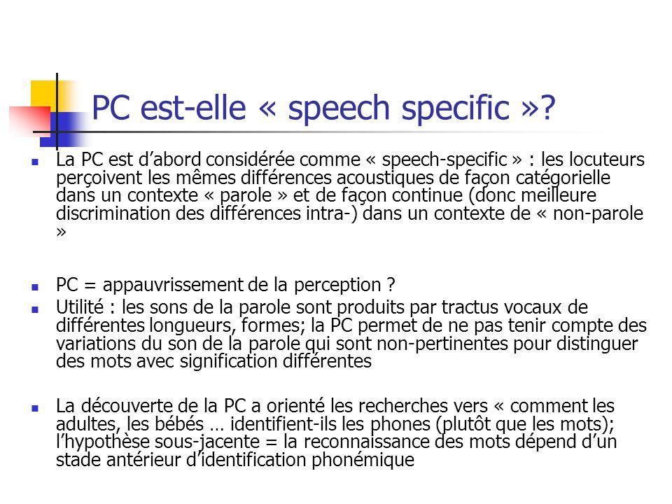 PC est-elle « speech specific »? La PC est dabord considérée comme « speech-specific » : les locuteurs perçoivent les mêmes différences acoustiques de