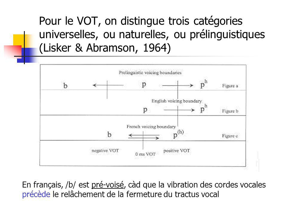 Pour le VOT, on distingue trois catégories universelles, ou naturelles, ou prélinguistiques (Lisker & Abramson, 1964) En français, /b/ est pré-voisé,