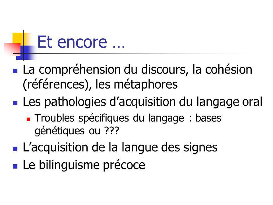 Et encore … La compréhension du discours, la cohésion (références), les métaphores Les pathologies dacquisition du langage oral Troubles spécifiques d