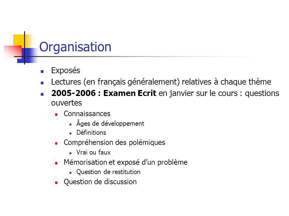 Organisation Exposés Lectures (en français généralement) relatives à chaque thème 2005-2006 : Examen Ecrit en janvier sur le cours : questions ouverte