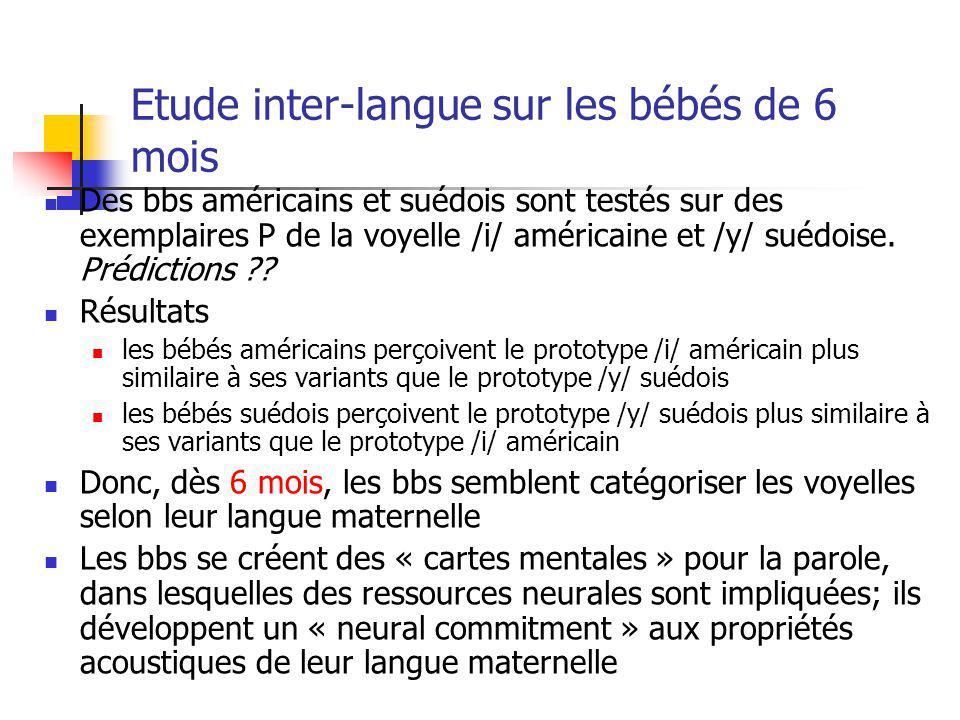 Etude inter-langue sur les bébés de 6 mois Des bbs américains et suédois sont testés sur des exemplaires P de la voyelle /i/ américaine et /y/ suédois