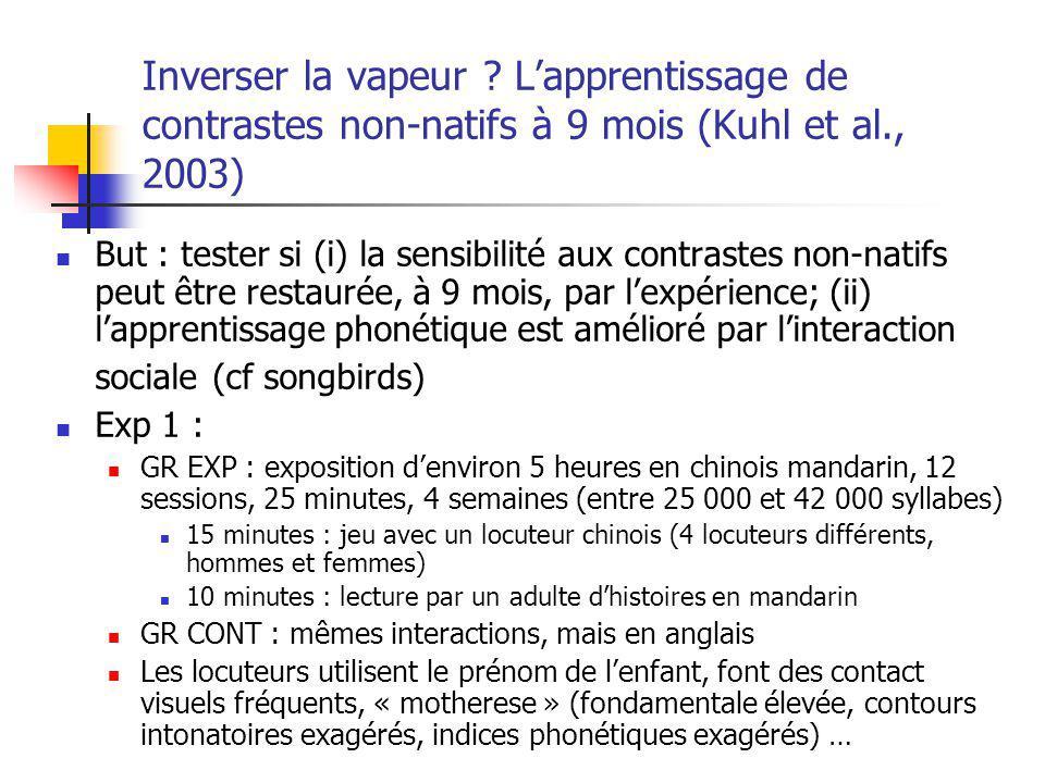 Inverser la vapeur ? Lapprentissage de contrastes non-natifs à 9 mois (Kuhl et al., 2003) But : tester si (i) la sensibilité aux contrastes non-natifs
