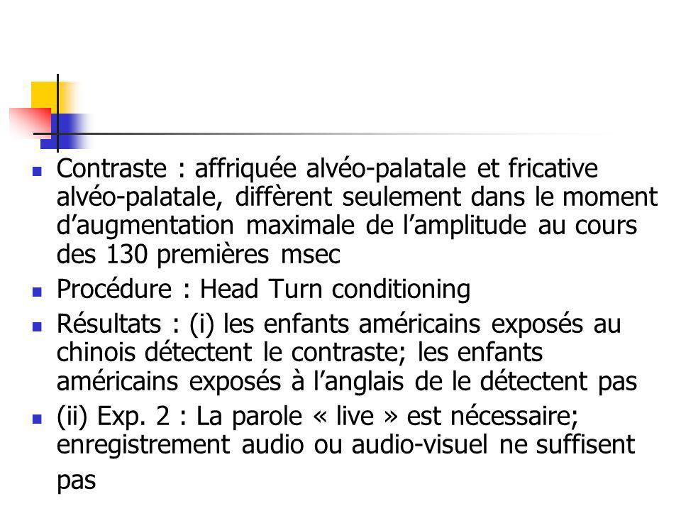 Contraste : affriquée alvéo-palatale et fricative alvéo-palatale, diffèrent seulement dans le moment daugmentation maximale de lamplitude au cours des