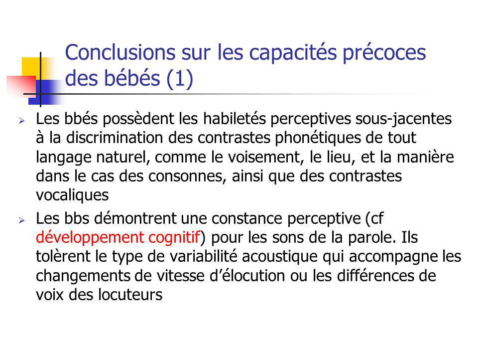 Conclusions sur les capacités précoces des bébés (1) Les bbés possèdent les habiletés perceptives sous-jacentes à la discrimination des contrastes pho