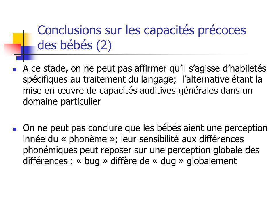 Conclusions sur les capacités précoces des bébés (2) A ce stade, on ne peut pas affirmer quil sagisse dhabiletés spécifiques au traitement du langage;