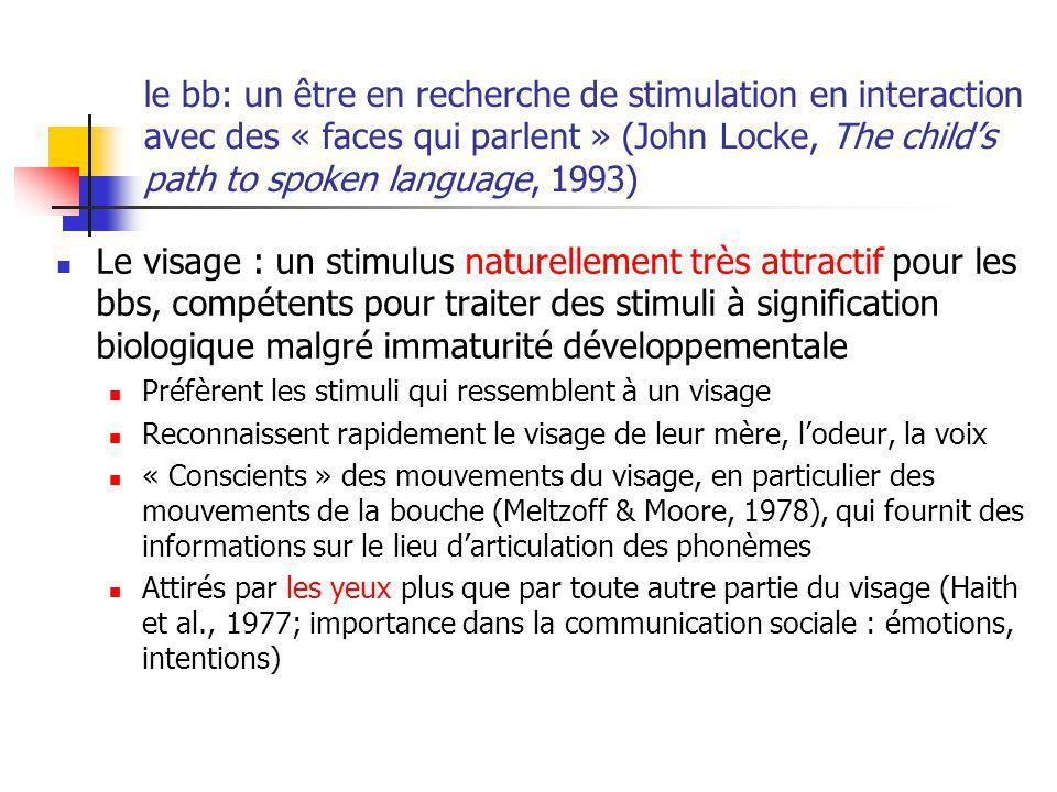 le bb: un être en recherche de stimulation en interaction avec des « faces qui parlent » (John Locke, The childs path to spoken language, 1993) Le vis