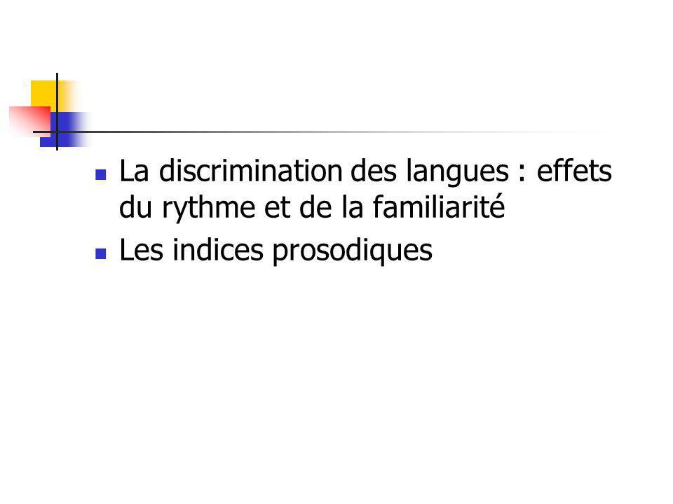 La discrimination des langues : effets du rythme et de la familiarité Les indices prosodiques