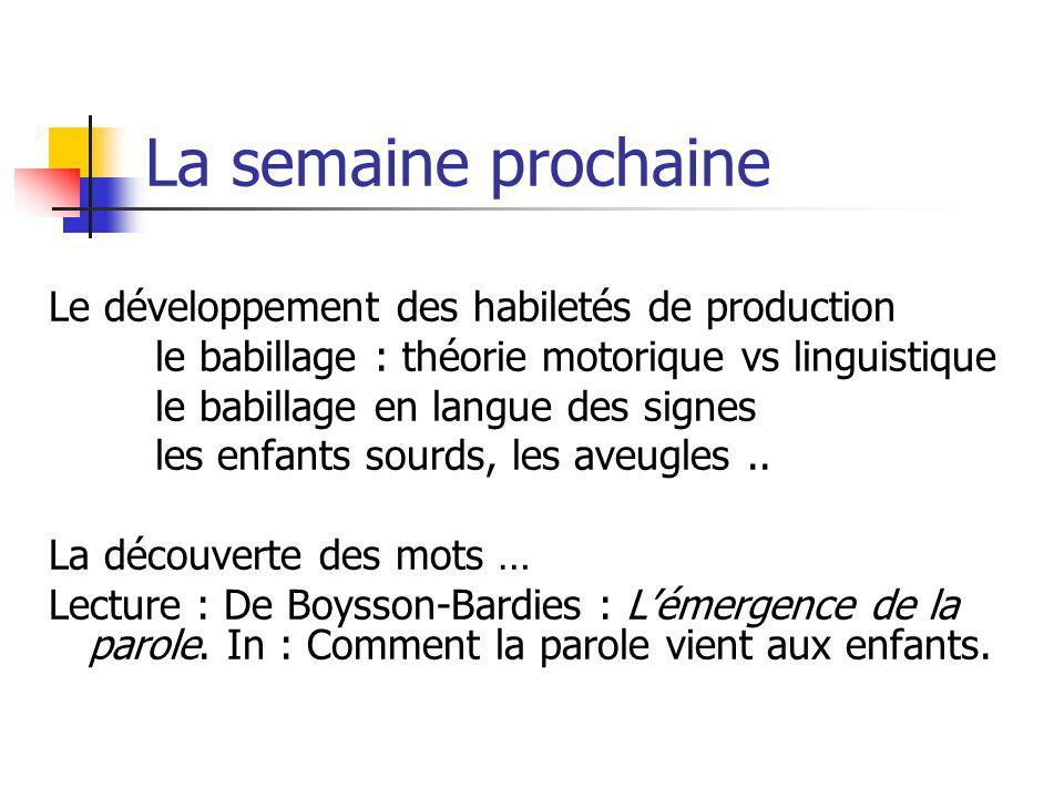 La semaine prochaine Le développement des habiletés de production le babillage : théorie motorique vs linguistique le babillage en langue des signes l
