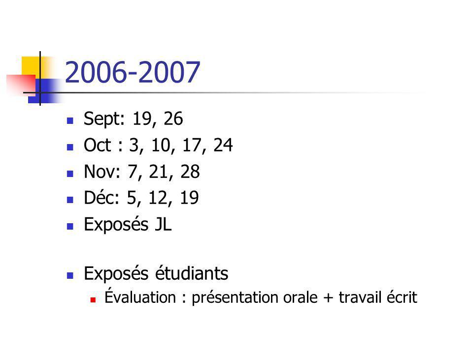 2006-2007 Sept: 19, 26 Oct : 3, 10, 17, 24 Nov: 7, 21, 28 Déc: 5, 12, 19 Exposés JL Exposés étudiants Évaluation : présentation orale + travail écrit