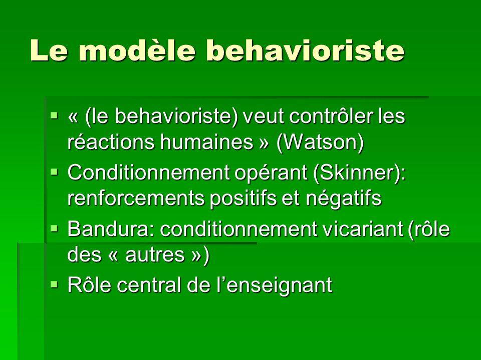 Le modèle behavioriste « (le behavioriste) veut contrôler les réactions humaines » (Watson) « (le behavioriste) veut contrôler les réactions humaines