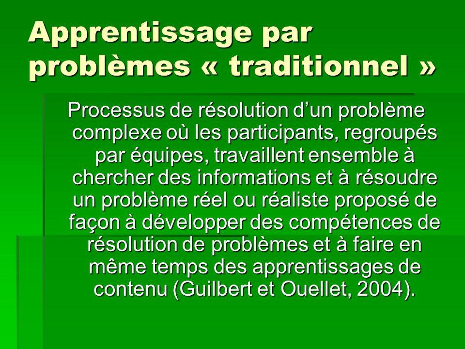 Apprentissage par problèmes « traditionnel » Processus de résolution dun problème complexe où les participants, regroupés par équipes, travaillent ens