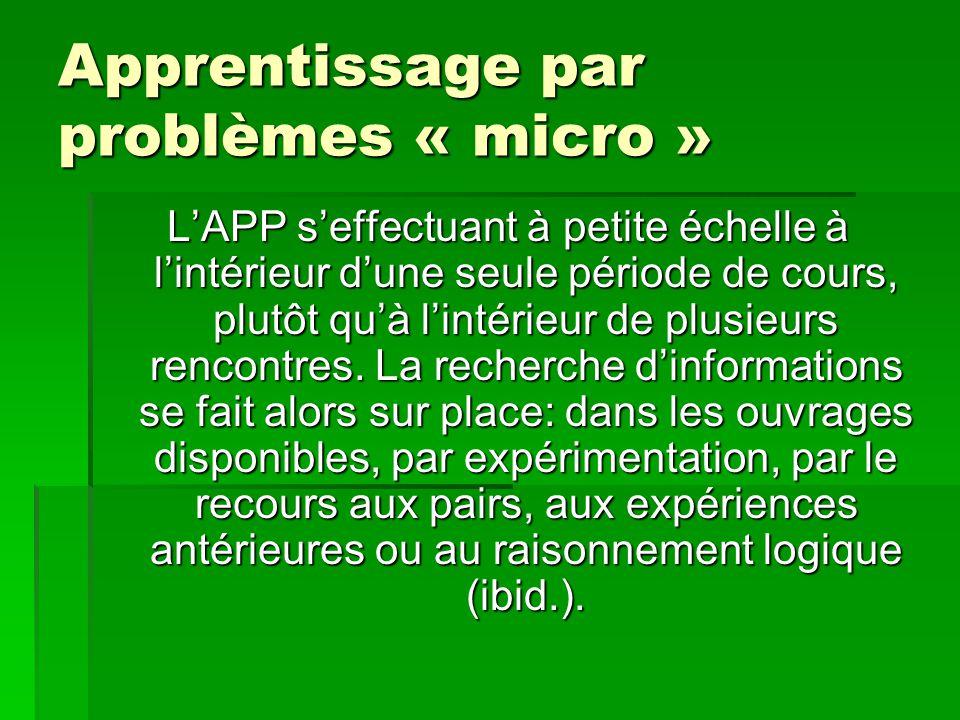 Apprentissage par problèmes « micro » LAPP seffectuant à petite échelle à lintérieur dune seule période de cours, plutôt quà lintérieur de plusieurs r