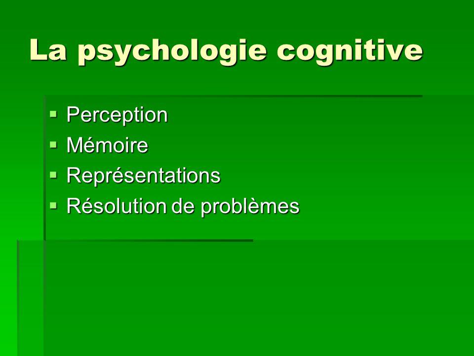 La psychologie cognitive Perception Perception Mémoire Mémoire Représentations Représentations Résolution de problèmes Résolution de problèmes