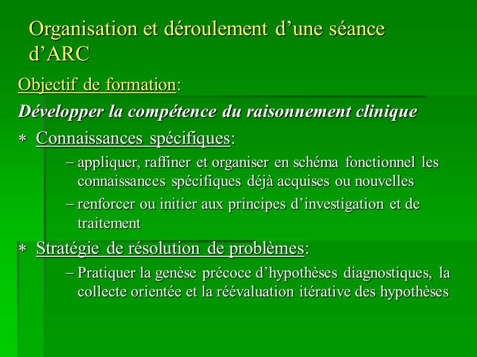 Organisation et déroulement dune séance dARC Objectif de formation: Développer la compétence du raisonnement clinique Connaissances spécifiques: Conna