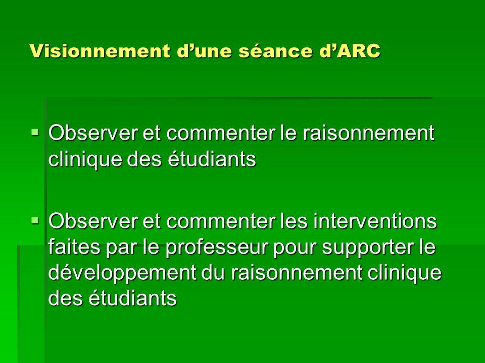 Visionnement dune séance dARC Observer et commenter le raisonnement clinique des étudiants Observer et commenter le raisonnement clinique des étudiant