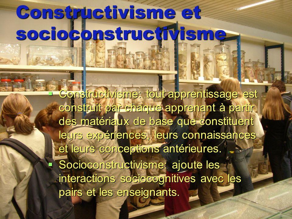 Constructivisme et socioconstructivisme Constructivisme: tout apprentissage est construit par chaque apprenant à partir des matériaux de base que cons