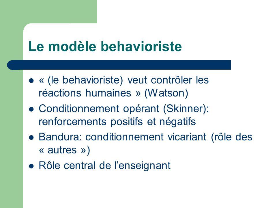 Le modèle behavioriste « (le behavioriste) veut contrôler les réactions humaines » (Watson) Conditionnement opérant (Skinner): renforcements positifs