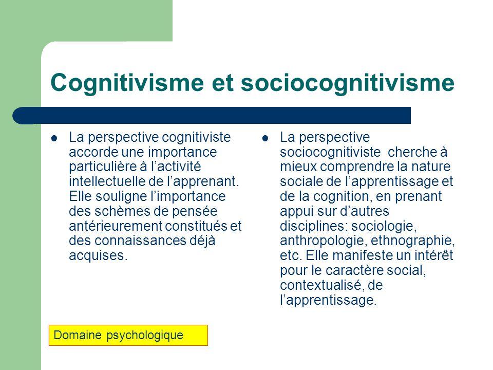 Cognitivisme et sociocognitivisme La perspective cognitiviste accorde une importance particulière à lactivité intellectuelle de lapprenant. Elle souli