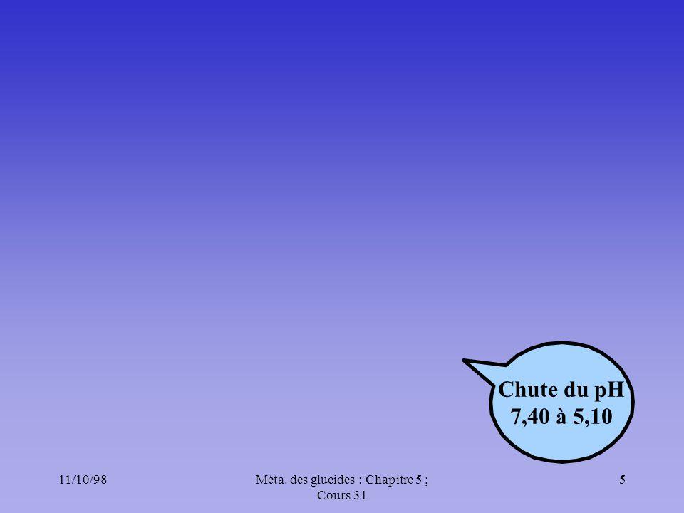 11/10/985Méta. des glucides : Chapitre 5 ; Cours 31 Chute du pH 7,40 à 5,10