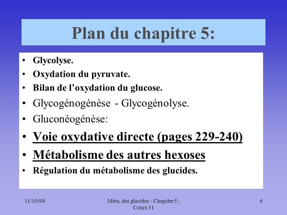 11/10/986Méta. des glucides : Chapitre 5 ; Cours 31 Plan du chapitre 5: Glycolyse. Oxydation du pyruvate. Bilan de loxydation du glucose. Glycogénogén