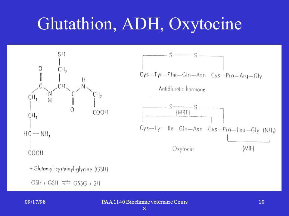 09/17/9810PAA 1140 Biochimie vétériaire Cours 8 Glutathion, ADH, Oxytocine