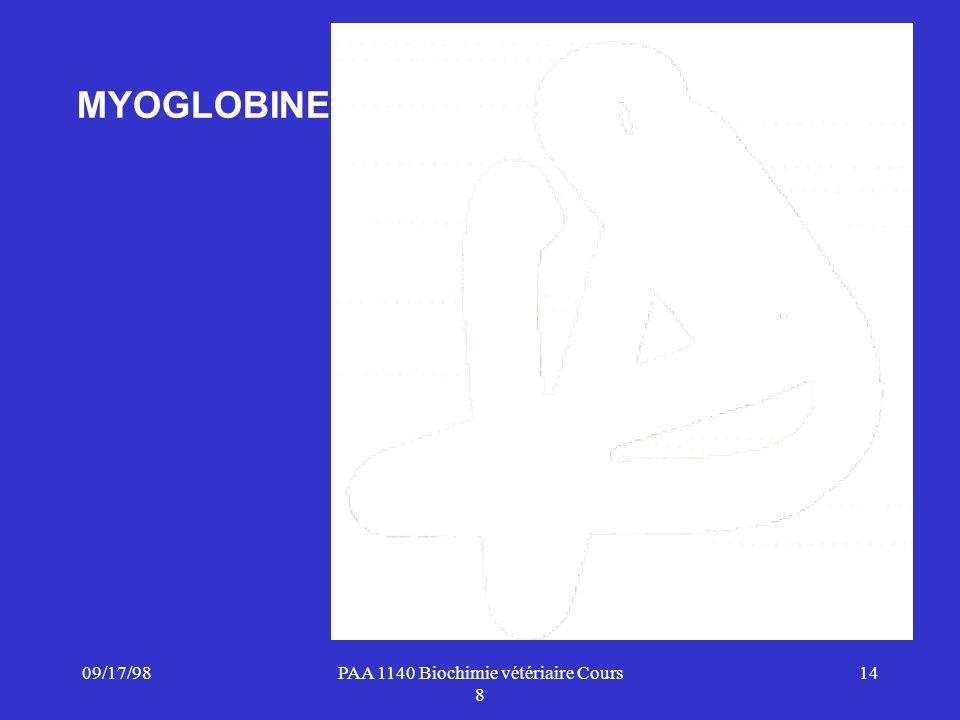 09/17/9814PAA 1140 Biochimie vétériaire Cours 8 MYOGLOBINE