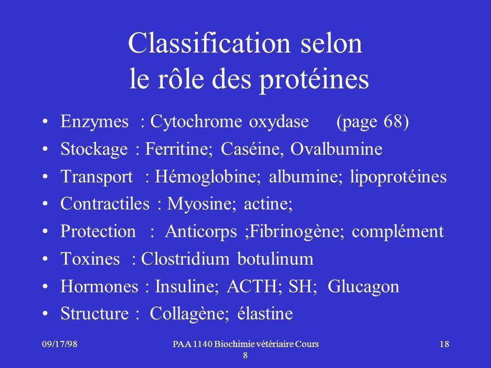 09/17/9818PAA 1140 Biochimie vétériaire Cours 8 Classification selon le rôle des protéines Enzymes: Cytochrome oxydase(page 68) Stockage : Ferritine; Caséine, Ovalbumine Transport : Hémoglobine; albumine; lipoprotéines Contractiles : Myosine; actine; Protection : Anticorps ;Fibrinogène; complément Toxines : Clostridium botulinum Hormones : Insuline; ACTH; SH; Glucagon Structure : Collagène; élastine