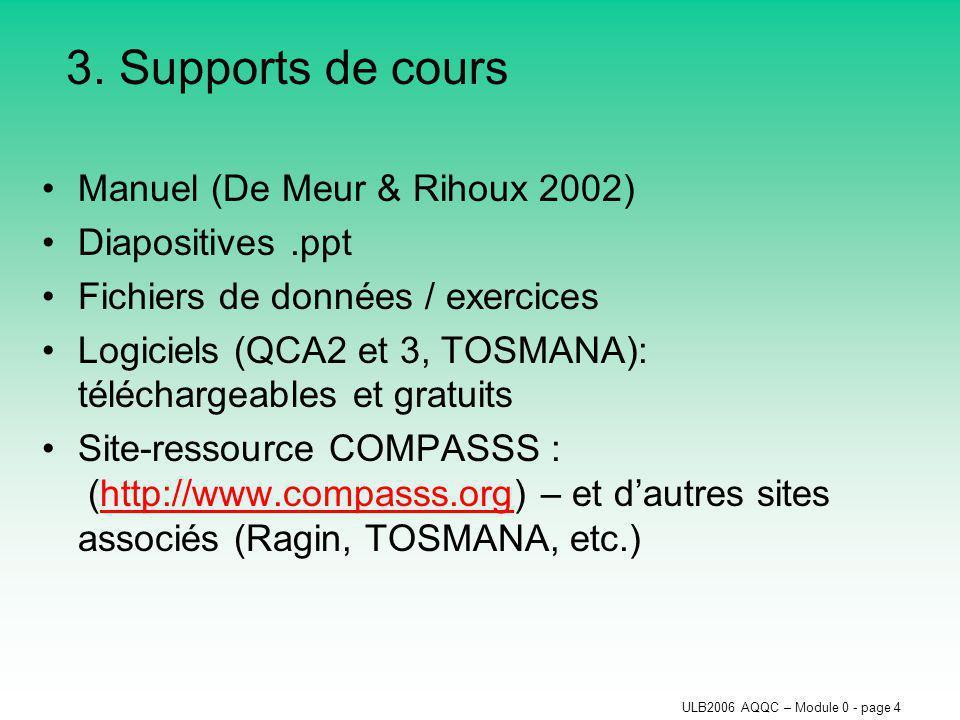 ULB2006 AQQC – Module 0 - page 4 3. Supports de cours Manuel (De Meur & Rihoux 2002) Diapositives.ppt Fichiers de données / exercices Logiciels (QCA2