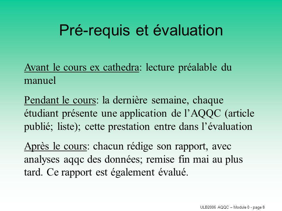 ULB2006 AQQC – Module 0 - page 8 Pré-requis et évaluation Avant le cours ex cathedra: lecture préalable du manuel Pendant le cours: la dernière semain