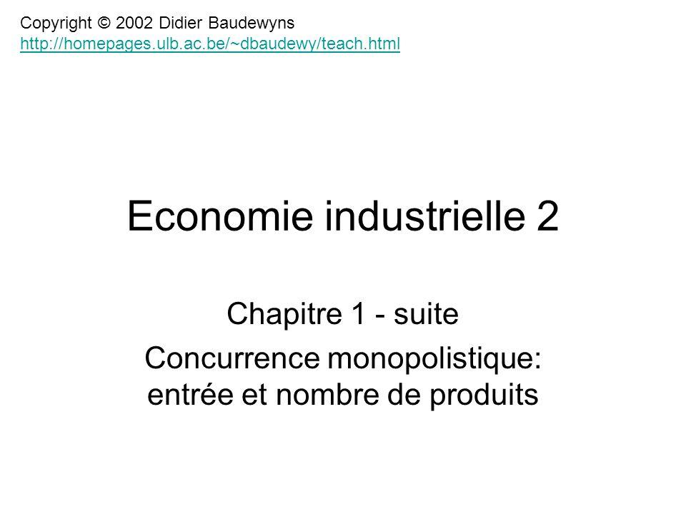 Chapitre 1 - suite Concurrence monopolistique: entrée et nombre de produits Economie industrielle 2 Copyright © 2002 Didier Baudewyns http://homepages.ulb.ac.be/~dbaudewy/teach.html http://homepages.ulb.ac.be/~dbaudewy/teach.html