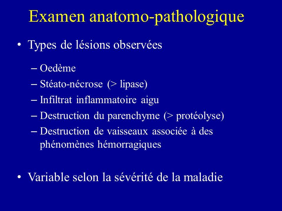 Types de lésions observées – Oedème – Stéato-nécrose (> lipase) – Infiltrat inflammatoire aigu – Destruction du parenchyme (> protéolyse) – Destructio