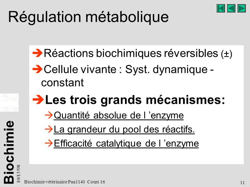 Biochimie 10/15/98 11 Biochimie vétérinaire Paa1140 Cours 16 Régulation métabolique Réactions biochimiques réversibles (±) Cellule vivante : Syst.