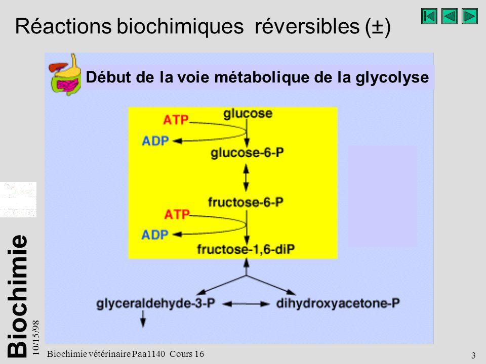 Biochimie 10/15/98 3 Biochimie vétérinaire Paa1140 Cours 16 Réactions biochimiques réversibles (±) Début de la voie métabolique de la glycolyse