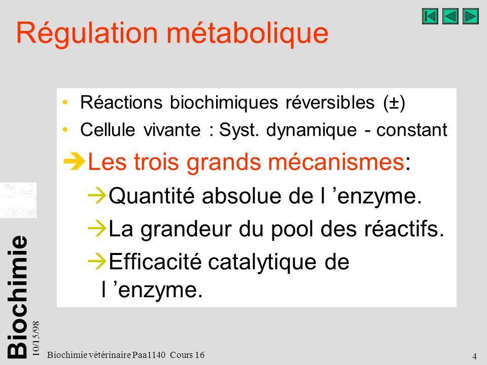 Biochimie 10/15/98 5 Biochimie vétérinaire Paa1140 Cours 16 RÉGULATION MÉTABOLIQUE 2 3 4 5 1 1a 1b
