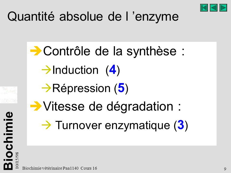 Biochimie 10/15/98 10 Biochimie vétérinaire Paa1140 Cours 16 Efficacité catalytique de l enzyme Enzymes régulatrices : Activation.