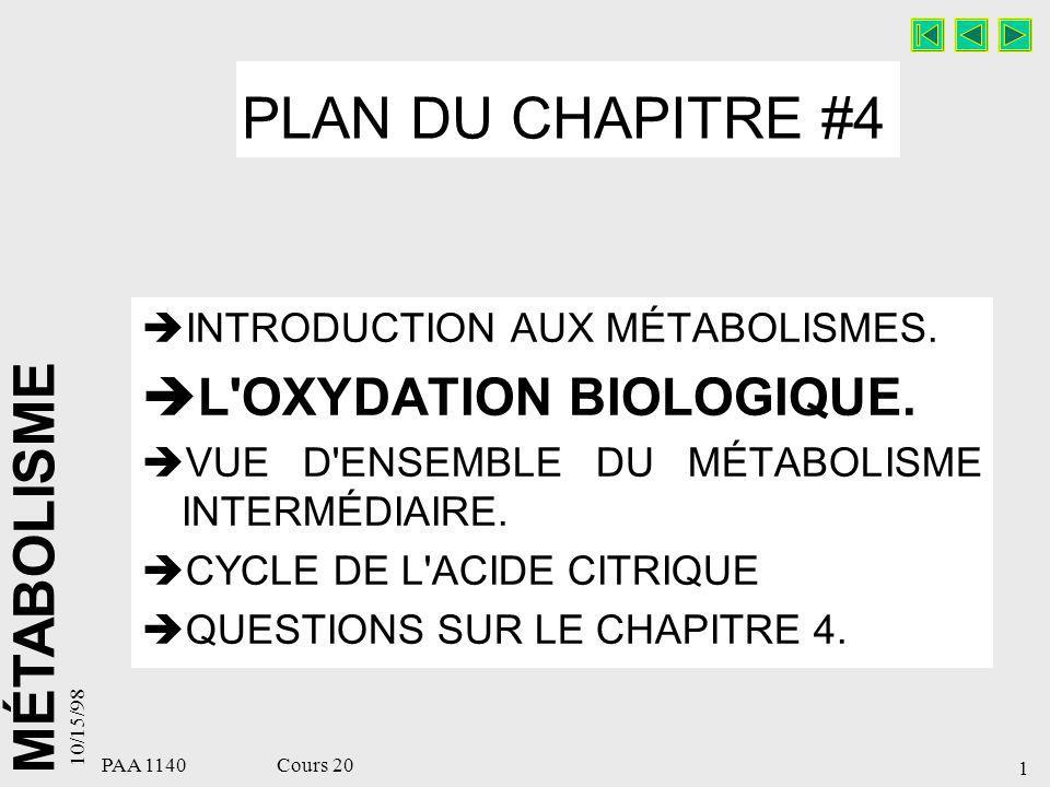 MÉTABOLISME 10/15/98 2 PAA 1140 Cours 20 OXYDATION BIOLOGIQUE Énergie brute de quelques aliments, Écoulement de l énergie, Le métabolisme intermédiaire, La bioénergétique, Oxydation biologique, La chaîne respiratoire.