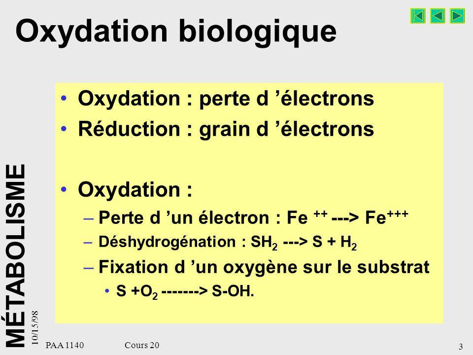 MÉTABOLISME 10/15/98 4 PAA 1140 Cours 20 Oxydo-réduction : Perte d un électron