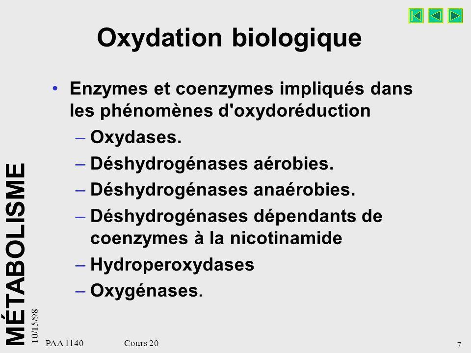 MÉTABOLISME 10/15/98 18 PAA 1140 Cours 20 OXYDATION BIOLOGIQUE : SOMMAIRE