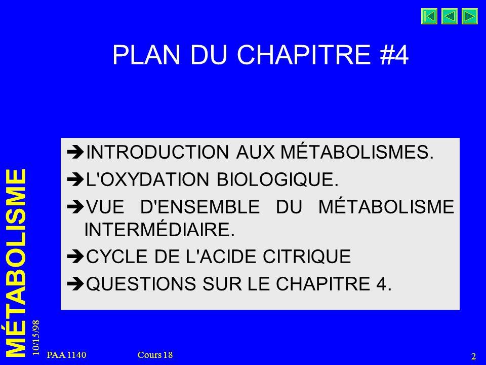 MÉTABOLISME 10/15/98 2 PAA 1140 Cours 18 PLAN DU CHAPITRE #4 INTRODUCTION AUX MÉTABOLISMES. L'OXYDATION BIOLOGIQUE. VUE D'ENSEMBLE DU MÉTABOLISME INTE